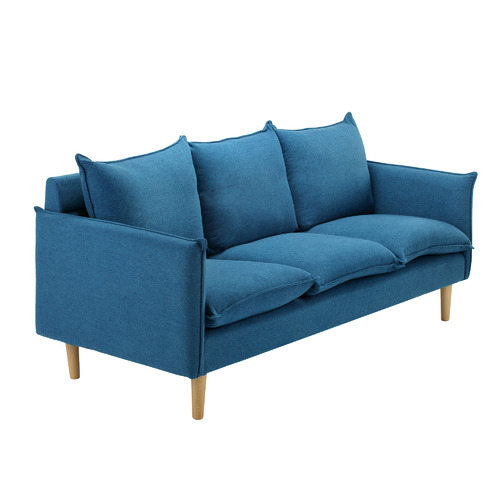 Temple & Webster Blue Hampstead Scandinavian-Style 3 Seater Sofa