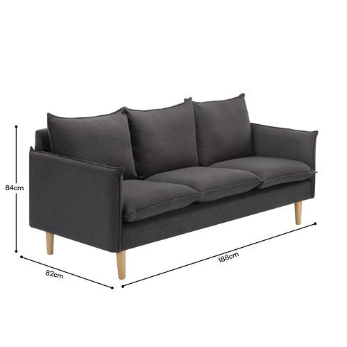 Charcoal Hampstead Scandinavian-Style 3 Seater Sofa