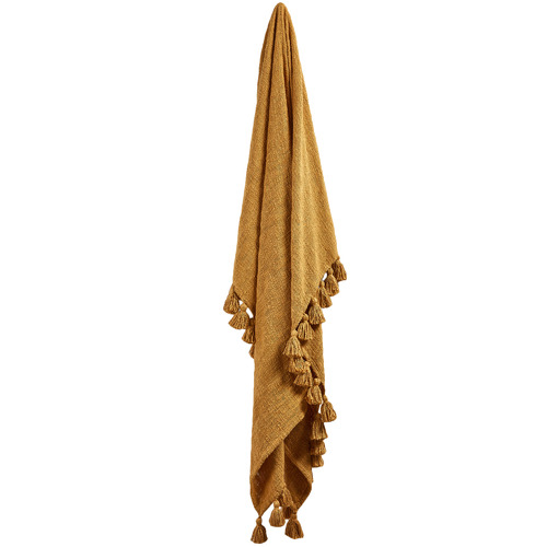 Temple & Webster Mustard Raffa Cotton Throw