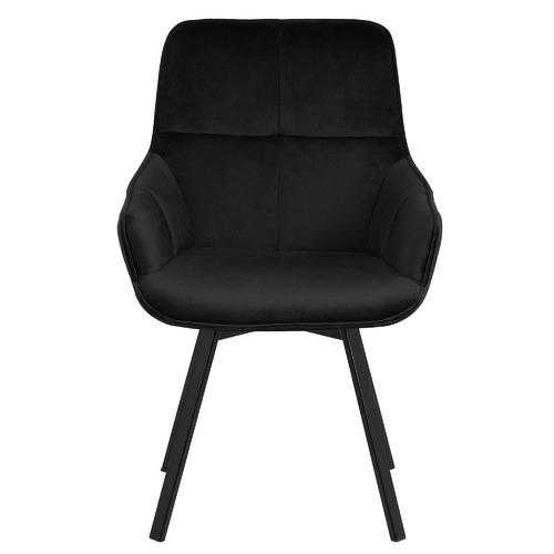 Temple & Webster Black Krystoffer Velvet Swivel Dining Chairs