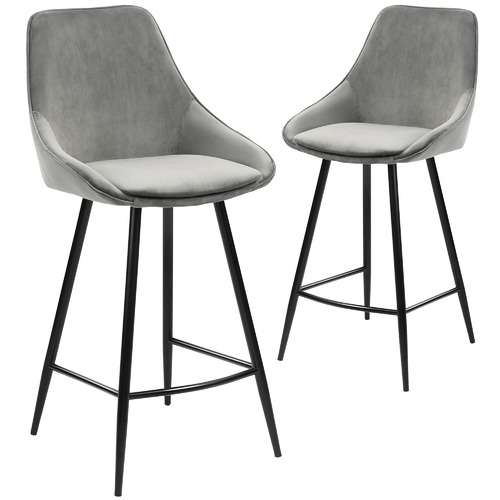 Temple & Webster 67cm Nappa Velvet High Back Barstools