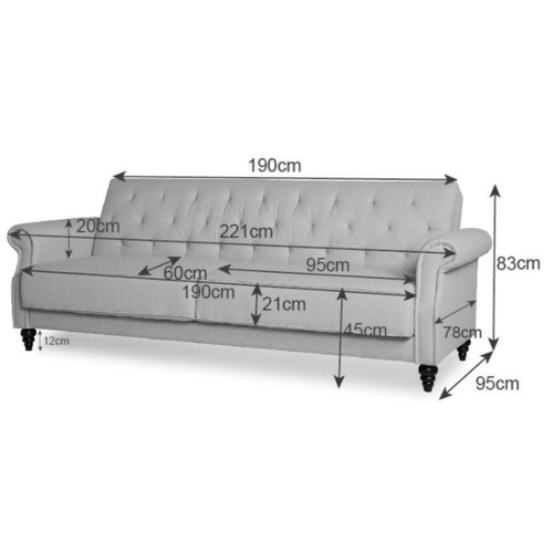 Temple & Webster Richmond 3 Seater Linen Chesterfield Sofa Bed