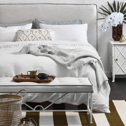 Temple & Webster White Vintage Wash Pure Linen Quilt Cover Set