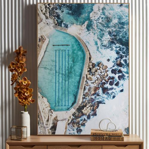 Blue Bronte Rocks Framed Canvas Wall Art