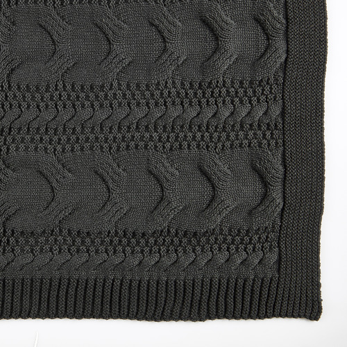 Temple & Webster Charcoal Cable Knitted Cotton Throw