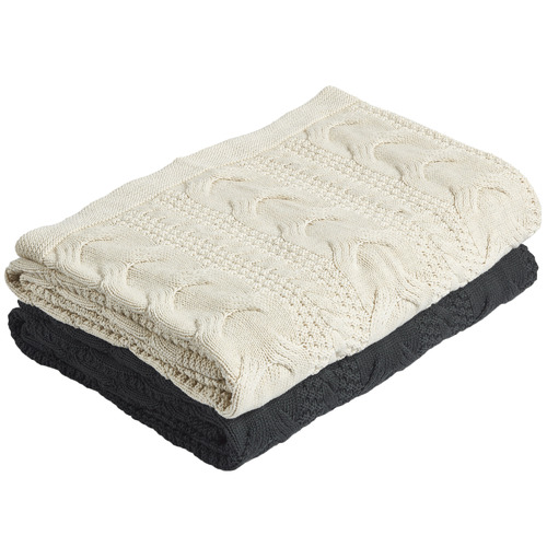 Temple & Webster Natural Cable Knitted Cotton Throw
