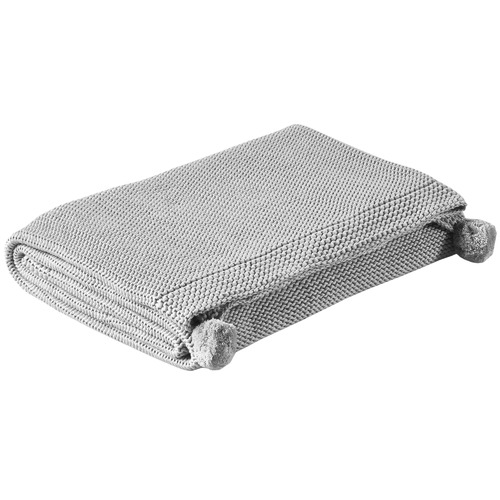 Temple & Webster Grey Pom Pom Knitted Cotton Throw