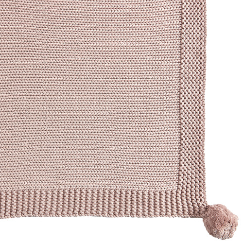 Temple & Webster Blush Pom Pom Knitted Cotton Throw