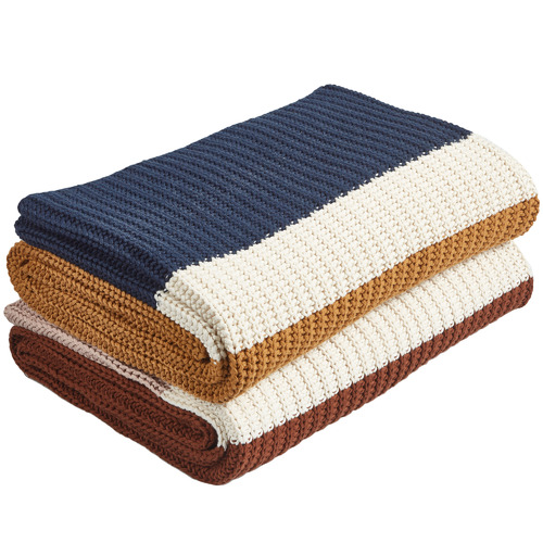 Temple & Webster Clay Stripe Knitted Cotton Throw