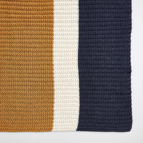 Temple & Webster Mustard Stripe Knitted Cotton Throw