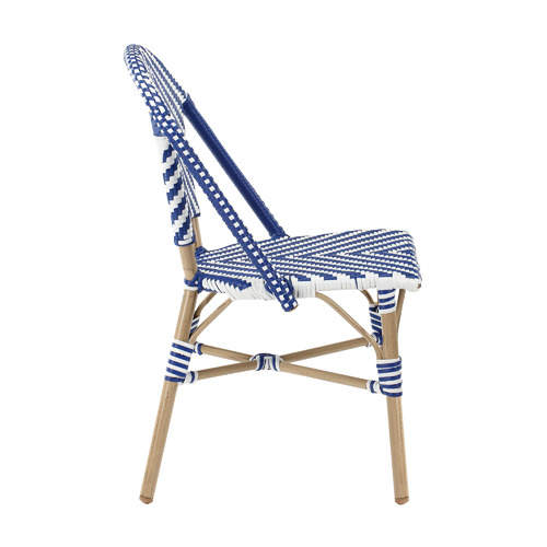 Temple & Webster Blue & White Paris PE Rattan Cafe Dining Chairs