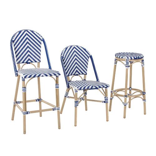 Temple & Webster Blue & White Paris PE Rattan Cafe High Back Barstool