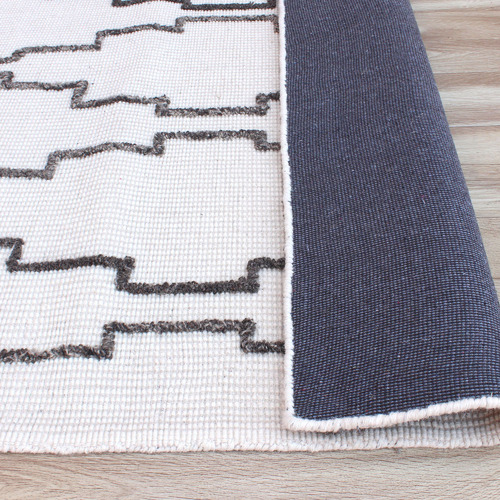 Temple & Webster Ivory & Grey Icon Hand-Woven Wool Rug