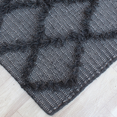 Temple & Webster Charcoal Nora Hand-Woven Wool Rug