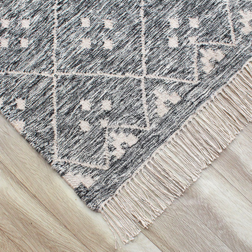 Temple & Webster Grey Paige Hand-Woven Wool-Blend Rug