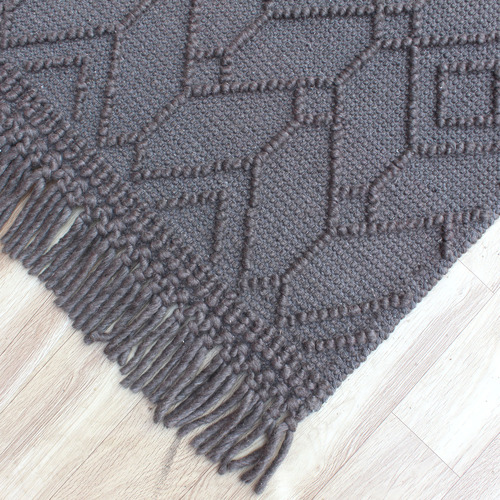Temple & Webster Charcoal Terra Hand-Woven Wool Rug