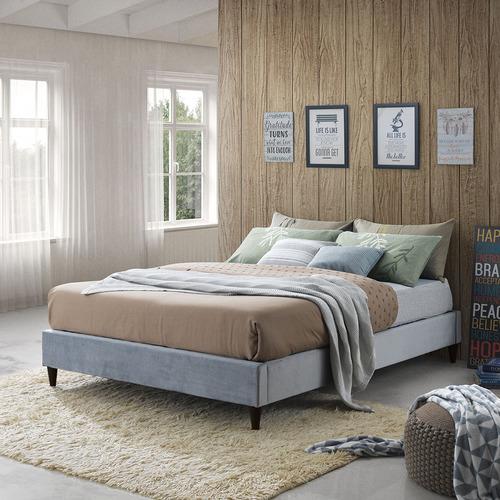 Temple & Webster Grey Velvet Charlotte Bed Base
