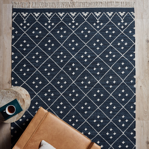 Blue Paige Hand-Woven Wool-Blend Rug