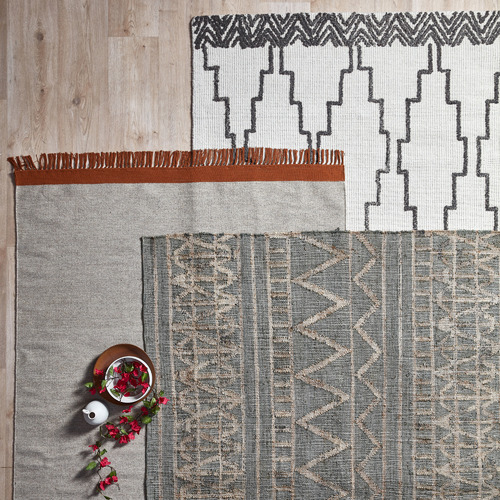 Temple & Webster Rust & Grey Mercer Hand-Woven Wool Rug