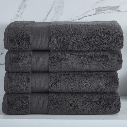 Temple & Webster Charcoal Aspen 550GSM Turkish Cotton Bath Towels
