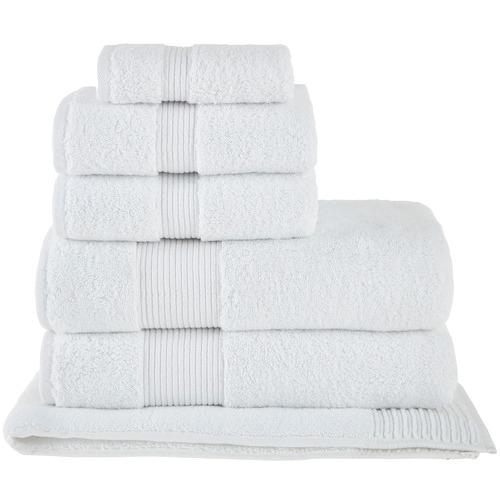 6 Piece White Grand 800GSM Turkish Cotton Towel Set