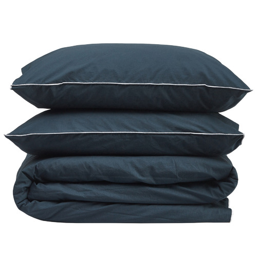 Temple & Webster Stone Blue Organic Cotton Quilt Cover Set