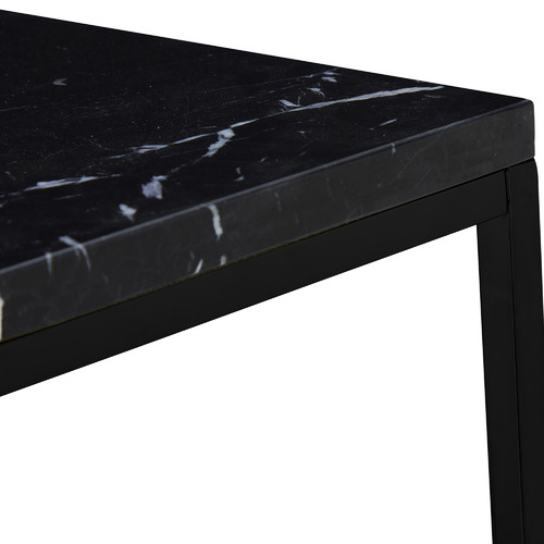 Temple & Webster Black Siena Square Marble Side Table