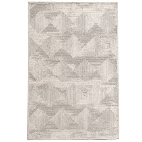 Temple & Webster Ivory Mason Hand-Tufted Wool Rug
