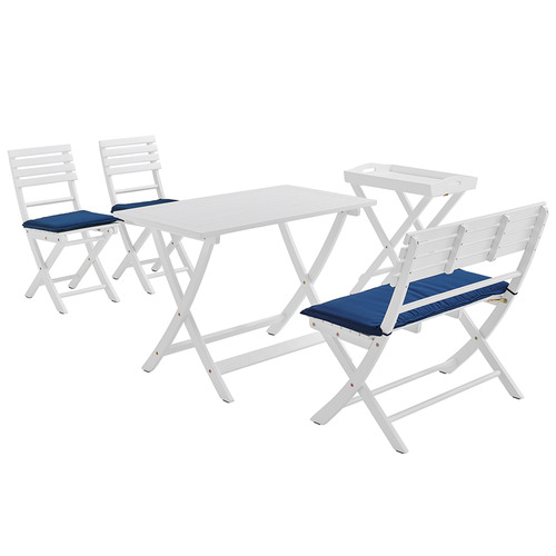 Temple & Webster 4 Seater Whitehaven Wooden Outdoor Dining Set & Butler's Tray