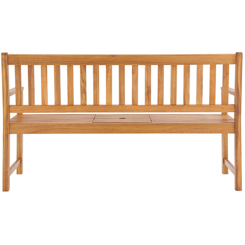 Temple & Webster 3 Seater Barbados Wooden Outdoor Bench with Built In Table
