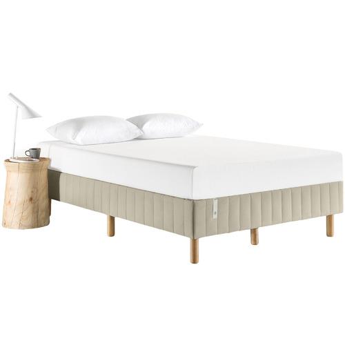 Beige Quick Snap Upholstered Queen Bed Base