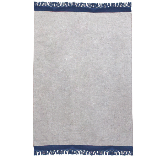 Temple & Webster Navy & Grey Mercer Hand-Woven Wool Rug