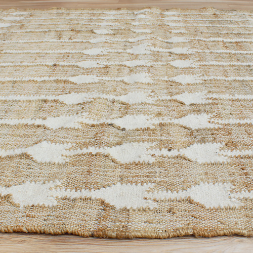 Temple & Webster Natural & Ivory Dart Hand-Woven Jute & Wool Rug