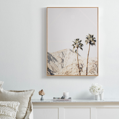 Temple & Webster Summer Heat Palms Framed Canvas Wall Art