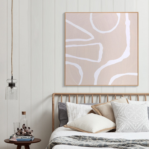 Temple & Webster Blush Tallie Blush Framed Canvas Wall Art