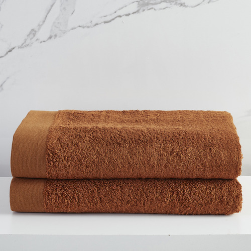Temple & Webster Cinnamon Spa 600GSM Bamboo & Turkish Cotton Bath Sheets