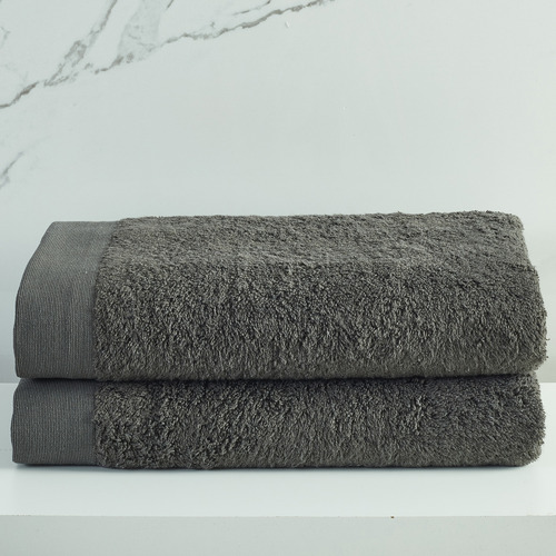 Temple & Webster Charcoal Spa 600GSM Bamboo & Turkish Cotton Towel Set