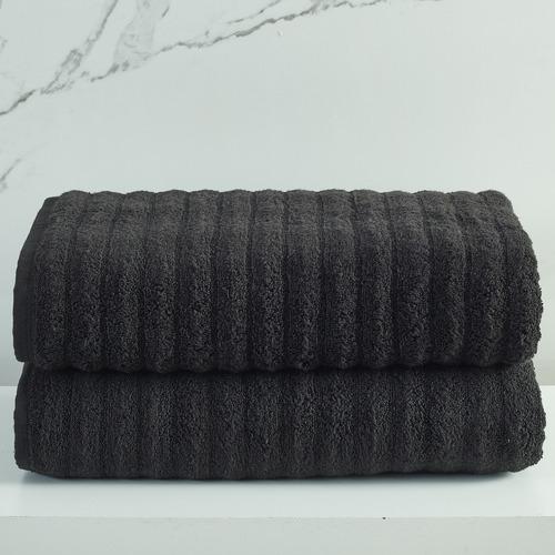Temple & Webster Black Ribbed 600GSM Turkish Cotton Bath Sheets