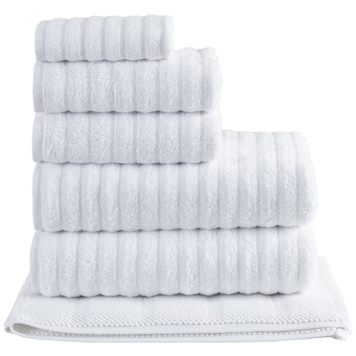 Temple & Webster 6 Piece White Ribbed 600GSM Turkish Cotton Towel Set