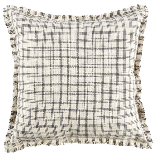 Temple & Webster Grid Frayed Edge Cotton Cushion