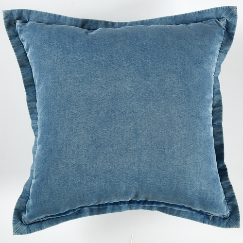 Temple & Webster Washed Denim Cotton Cushion