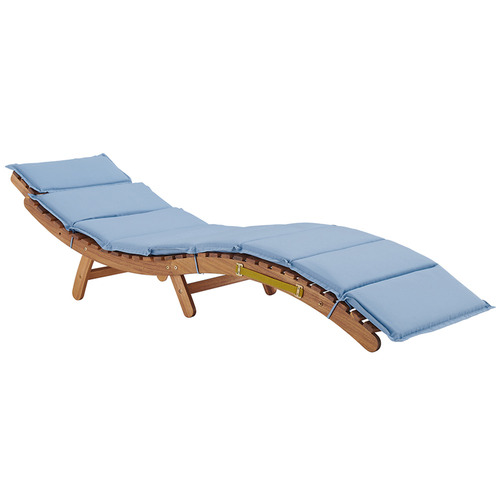 Temple & Webster Folding Samoa Wooden Outdoor Sun Lounge with Cushion