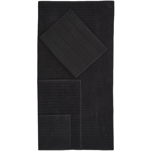Temple & Webster Black Ribbed 600GSM Turkish Cotton Towel Set