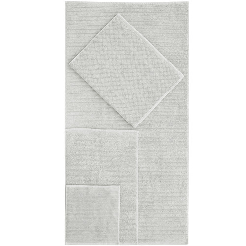 Temple & Webster 6 Piece Light Grey Ribbed 600GSM Turkish Cotton Towel Set
