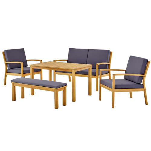Temple & Webster 6 Seater Liam Wooden Outdoor Dining Lounge Set