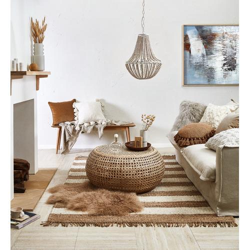 Temple & Webster Ivory Raffa Square Cotton Cushion