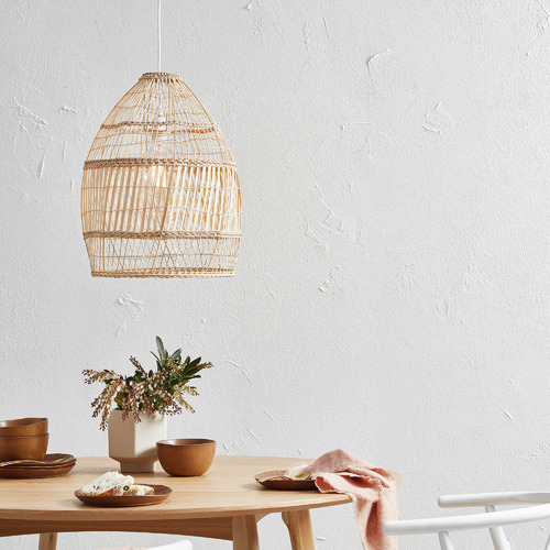 Temple & Webster Natural Amalfi Rattan 50cm Tall Pendant Light