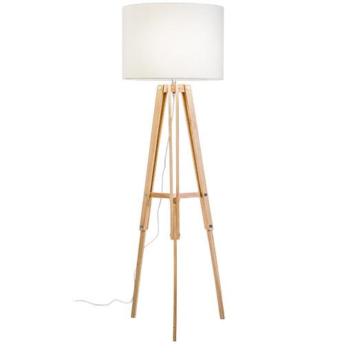 Temple & Webster Natural Benson Wooden Tripod Floor Lamp