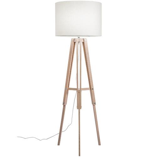 Temple & Webster Benson Wooden Tripod Floor Lamp