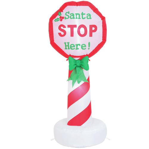Temple & Webster 120cm LED Inflatable Santa Stop Here Sign